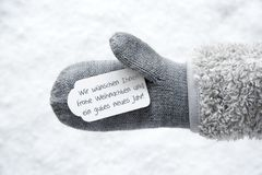 Wool Glove, Label, Snow, Gutes Neues Jahr Means Happy New Year Royalty Free Stock Photography