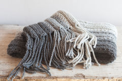 Wool grey scarf with tassels Stock Image