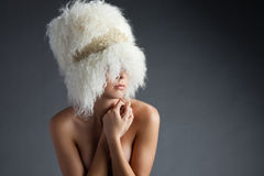 Wool on grey Royalty Free Stock Photo