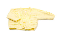 Wool hand-made yellow baby coat Stock Photo