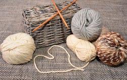 Wool handmade knitting basket Royalty Free Stock Images
