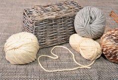 Wool handmade knitting basket Stock Image