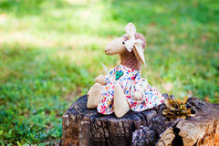 Wool handmade sheep in white dress with flowers and a cute bow on head Stock Images
