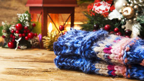 Wool Handwarmers  with Christmas Decoration Royalty Free Stock Photography