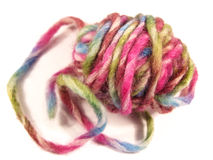 Wool hank. Colorful thick wool hank in a isolated close-up Royalty Free Stock Photography