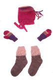 Wool hat, gloves and socks Stock Images