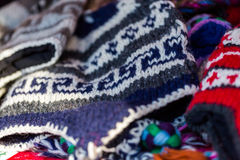 Wool hats. Hand made wool hats on display at the local Christmas market Royalty Free Stock Image