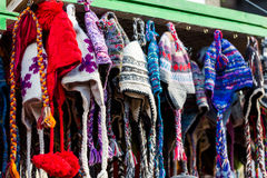 Wool hats. Hand made wool hats on display at the local Christmas market Stock Images