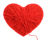 Wool heart. Red heart made of wool yarn Stock Photography