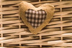 Wool heart, accesories. Closeup of wool heart, accesories for home design Royalty Free Stock Image