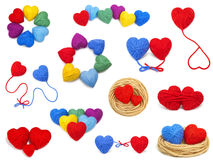 Wool hearts collection Royalty Free Stock Photo