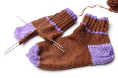Wool knitted socks Stock Images