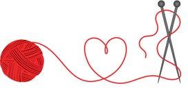 Wool knitting heart shape Stock Image