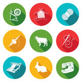 Wool, knitting Icons Set. Vector Illustration. vector illustration