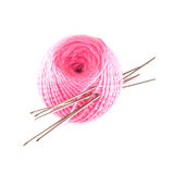 Wool with knitting needles close-up Stock Images