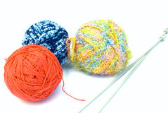 Wool and knitting needles - isolated Royalty Free Stock Photo