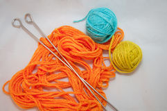 Wool and knitting needles. knit work Stock Photo