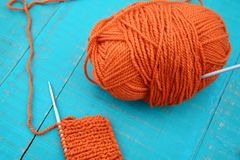 Wool and knitting needles Stock Photos