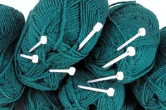 Wool and knitting needles. Royalty Free Stock Images