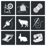 Wool, knitting Vector Icons Set vector illustration