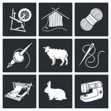 Wool, knitting Vector Icons Set Royalty Free Stock Image