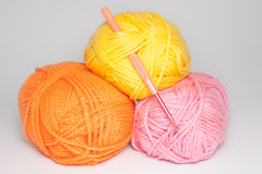 Wool for knitting on white background Royalty Free Stock Images