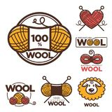 Wool labels or logo for pure 100 percent natural sheep wool textile tags. Stock Image