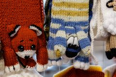 Wool mittens and gloves Stock Photo