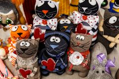 Wool mittens and gloves. As cats and rabbits royalty free stock photos