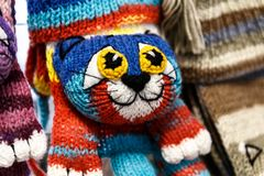 Wool mittens and gloves. As cats and rabbits royalty free stock images