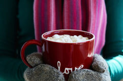 Wool mittens holding cup of hot chocolate with marshmallow Royalty Free Stock Photo