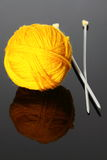 Wool with needles Royalty Free Stock Images