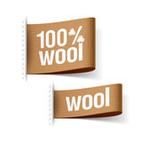 100% wool product. Clothing labels Royalty Free Stock Photography