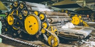 Wool production factory machine Royalty Free Stock Photos
