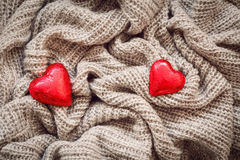 Wool, red hearts, pearl, Valentine Stock Photography