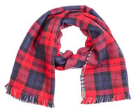 Wool  red tartan plaid scarf isolated Royalty Free Stock Image