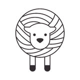 Wool roll with sheep. Vector illustration design Stock Images