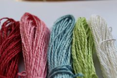 Colors. Wool rope yarn spirals stock images
