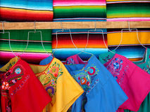 Wool sarapes and dresses. Traditional wool sarapes and cotton dresses Stock Photography