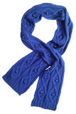 Wool scarf. Blue wool scarf isolated on white background Royalty Free Stock Photo