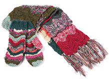 Wool scarf and mitts Royalty Free Stock Photography