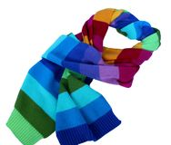 Wool scarf rainbow. Isolated on white stock photography