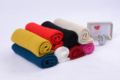 Wool scarfs of different colors Stock Images