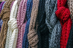 Wool scarves of various colors Stock Images