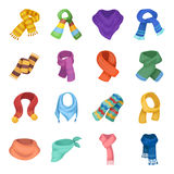 Wool, silk, polyester kinds of material for scarves and shawls.Scarves And Shawls set collection icons in cartoon style. Vector symbol stock illustration Royalty Free Stock Image