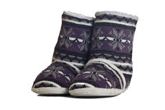 Wool slippers. Real wool slippers, fluffy rustic style isolated Royalty Free Stock Photography