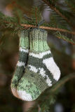 Wool socks. On a Christmas tree Royalty Free Stock Photos
