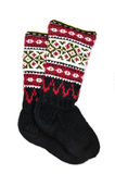 Wool socks. With  different ornaments Royalty Free Stock Images