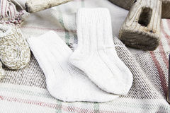 Wool socks handmade Stock Photos