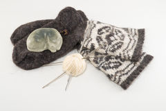 Wool socks and soap. Preparing for winter - knitting wool socks Royalty Free Stock Images